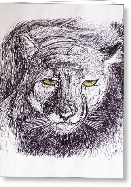Preditor Greeting Cards - Cougar Sketch 3 Greeting Card by Wade Clark