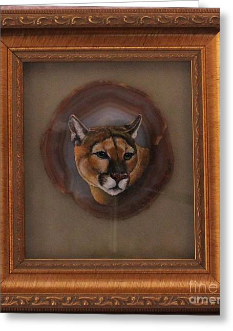 Lions Glass Art Greeting Cards - The Mountain Lion Greeting Card by Bob Williams