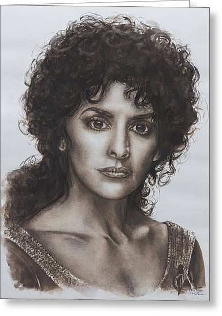 Roddenberry Paintings Greeting Cards - counselor Deanna Troi Star Trek TNG Greeting Card by Giulia Riva