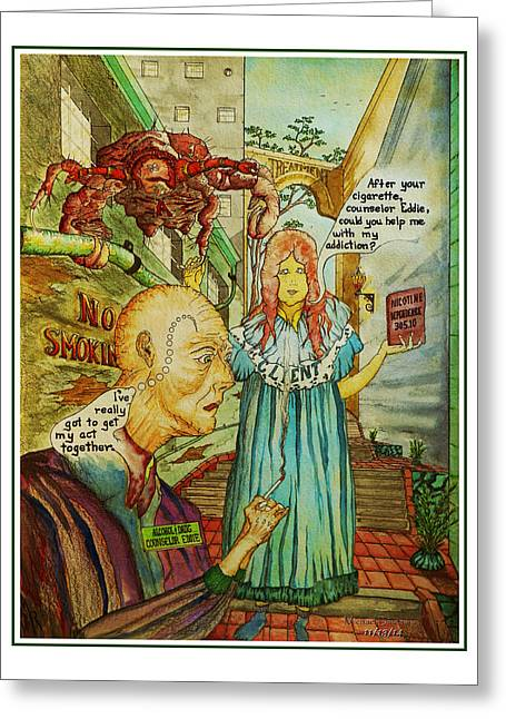 Smoking Greeting Cards - Counselor Eddie Smokes Greeting Card by Michael Shone SR