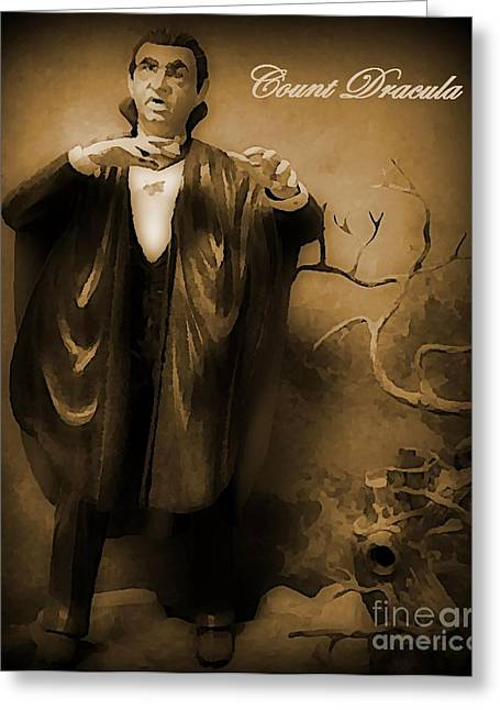 Universal.old Images Greeting Cards - Count Dracula in Sepia Greeting Card by John Malone