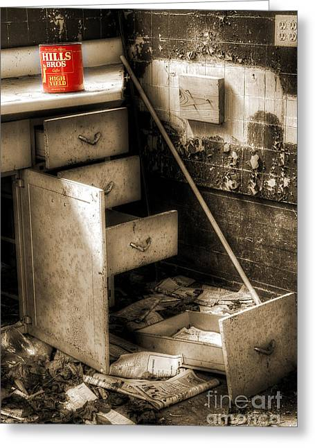 Abandoned Houses Greeting Cards - Counter Coffee Greeting Card by Michael Eingle