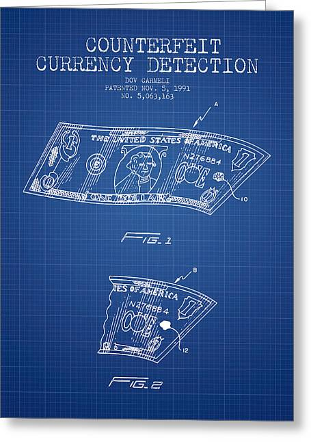 Dollars Greeting Cards - Counterfeit Currency Detection Patent from 1991 - Blueprint Greeting Card by Aged Pixel