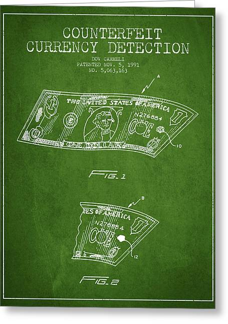 Dollar Greeting Cards - Counterfeit Currency Detection Patent from 1991 - Green Greeting Card by Aged Pixel