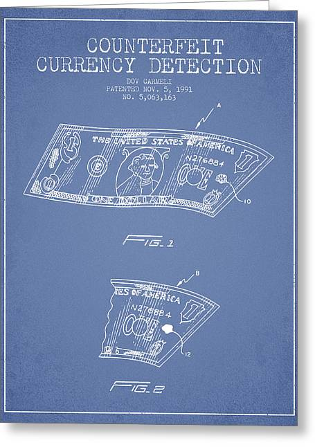 Dollar Greeting Cards - Counterfeit Currency Detection Patent from 1991 - Light Blue Greeting Card by Aged Pixel