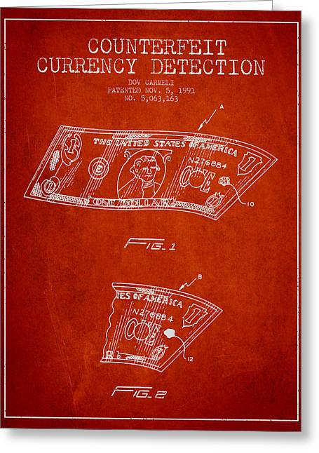 Dollar Greeting Cards - Counterfeit Currency Detection Patent from 1991 - Red Greeting Card by Aged Pixel
