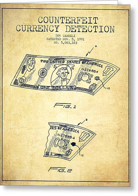 Dollars Greeting Cards - Counterfeit Currency Detection Patent from 1991 - Vintage Greeting Card by Aged Pixel