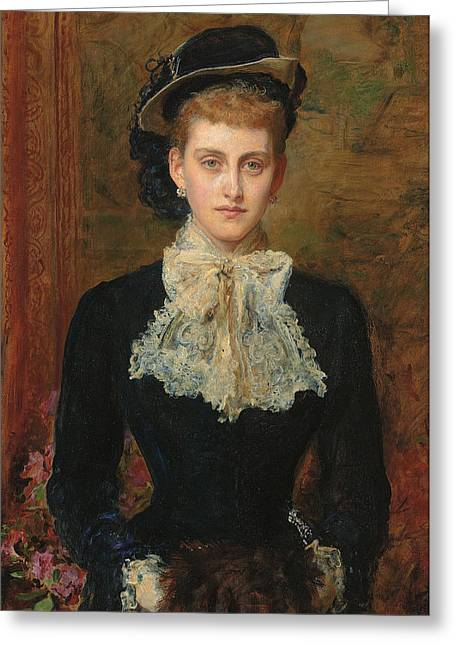 Looking At Viewer Greeting Cards - Countess de Pourtales Greeting Card by Sir John Everett Millais