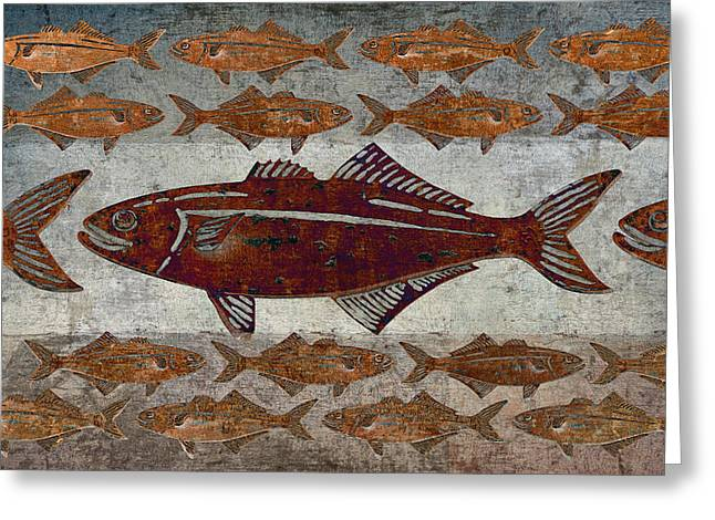 Bizarre Digital Art Greeting Cards - Counting Fish Greeting Card by Carol Leigh