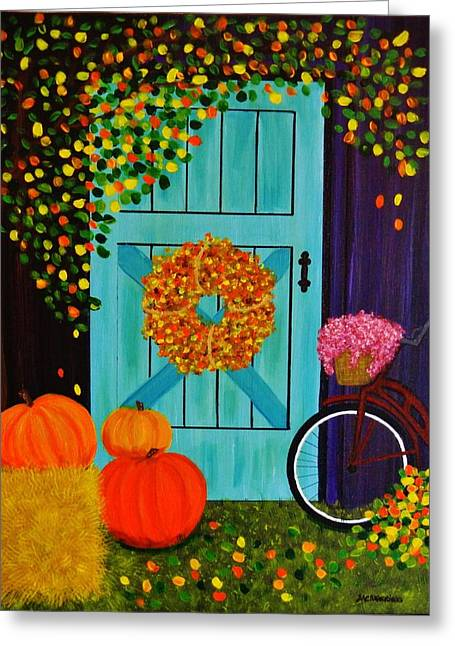 Barn Door Greeting Cards - Country Autumn Greeting Card by Celeste Manning