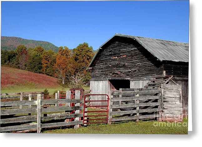 Rain Barrel Photographs Greeting Cards - Country Barn Greeting Card by Jeff McJunkin
