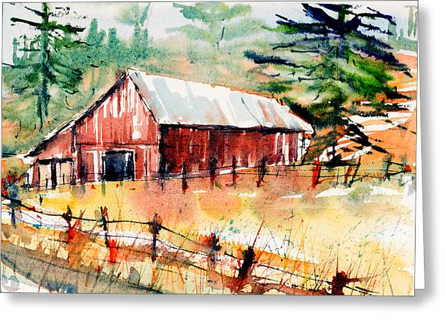 Loose Watercolor Greeting Cards - Country Barn Greeting Card by Judith Levins