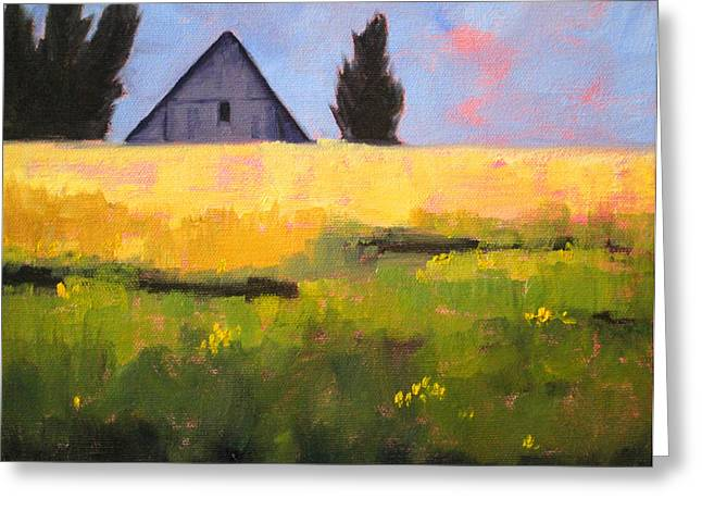 Wa Paintings Greeting Cards - Country Barn Greeting Card by Nancy Merkle