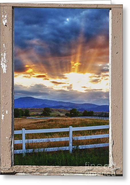 Country Beams Of Light Pealing Picture Window Frame Vie Greeting Card by James BO  Insogna