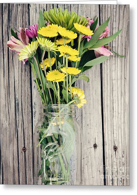 Mason Jars Greeting Cards - Country Bouquet Greeting Card by Kim Fearheiley