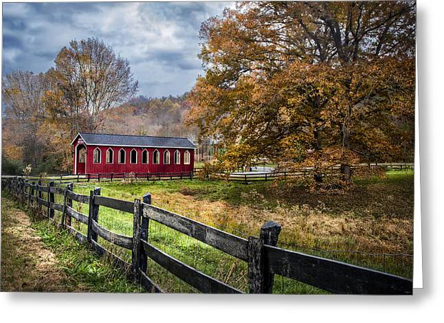 Old Country Roads Greeting Cards - Country Bridge Greeting Card by Debra and Dave Vanderlaan