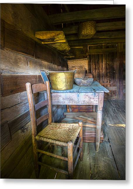 Wooden Bowl Greeting Cards - Country Cabin Greeting Card by Debra and Dave Vanderlaan