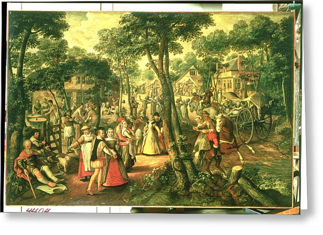 Celebrate Greeting Cards - Country Celebration, 1563 Oil On Canvas Greeting Card by Joachim Beuckelaer or Bueckelaer
