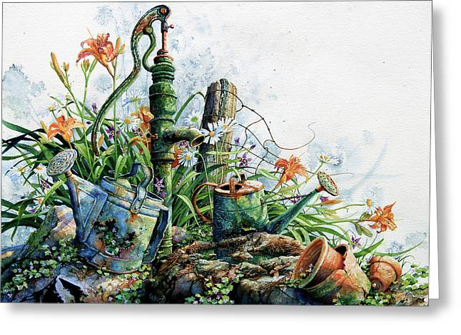 Old Fence Posts Paintings Greeting Cards - Country Charm Greeting Card by Hanne Lore Koehler