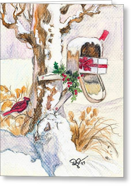 Pen And Ink Rural Drawings Greeting Cards - Country Christmas Mail  Greeting Card by Dale Jackson