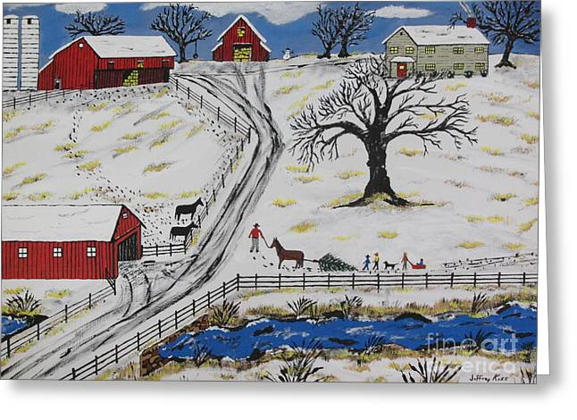 Sled.fence Greeting Cards - Country Christmas Tree Greeting Card by Jeffrey Koss