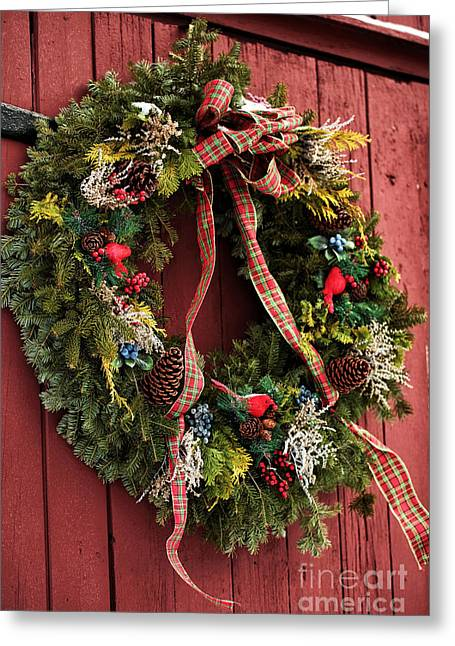 East Jersey Olde Towne Village Greeting Cards - Country Christmas Wreath Greeting Card by John Rizzuto