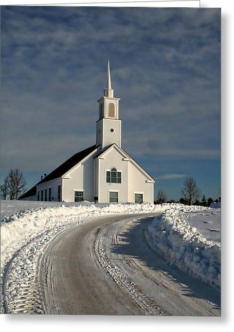 New England Snow Scene Greeting Cards - Country Church Greeting Card by Anthony Dezenzio