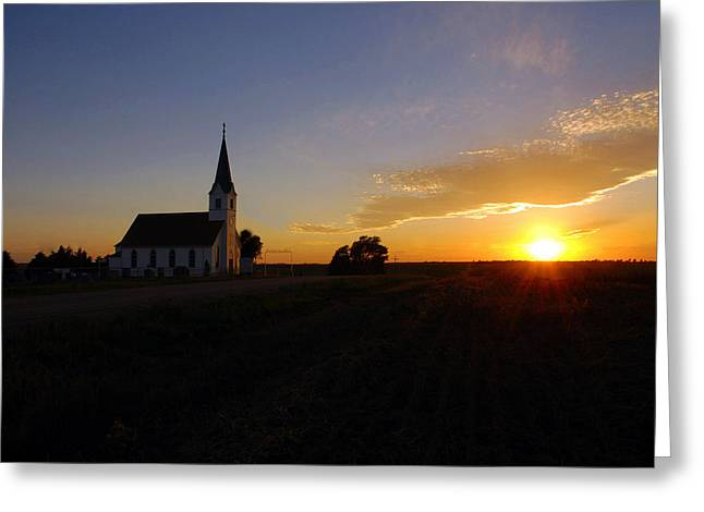 Zion Lutheran Church Greeting Cards - Country Church at Sunset  Greeting Card by Erin Theisen
