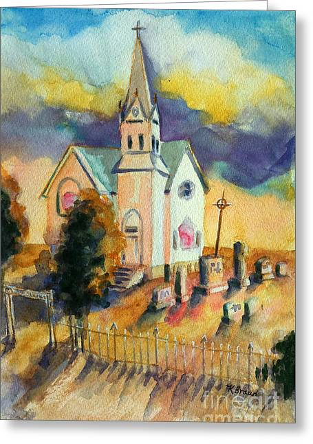 Country Church Mixed Media Greeting Cards - Country Church at Sunset Greeting Card by Kathy Braud