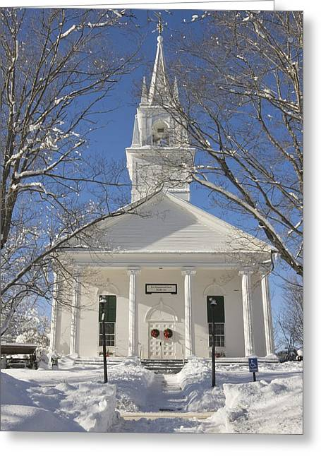 Country Church Greeting Cards - Country Church In Winter Maine Greeting Card by Keith Webber Jr