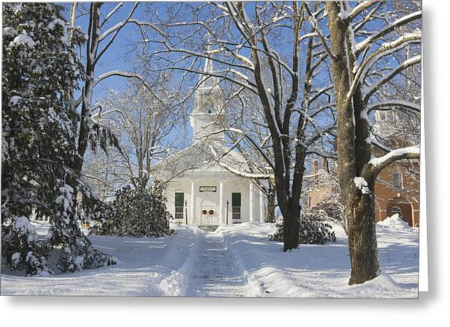 Country Church Greeting Cards - Country Church In Winter Wiscasset Maine Greeting Card by Keith Webber Jr
