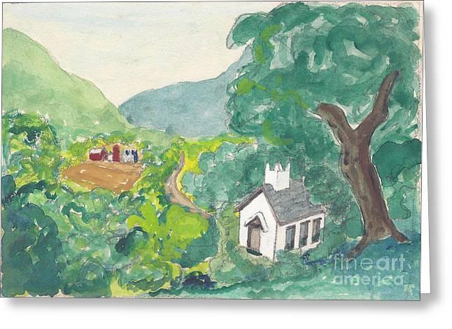 Country Church Mixed Media Greeting Cards - Country Church Watercolor Greeting Card by Fred Jinkins