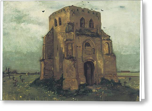 Cemetary Paintings Greeting Cards - Country Churchyard and Old Church Tower Greeting Card by Vincent Van Gogh