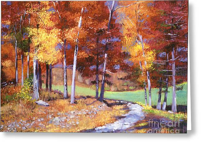 Tress Greeting Cards - Country Club Fall Greeting Card by David Lloyd Glover