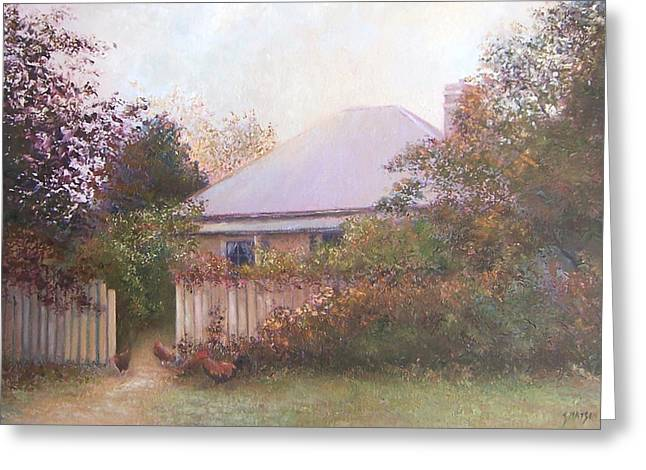 Old Farmhouse Prints Greeting Cards - Country Cottage Autumn Greeting Card by Jan Matson