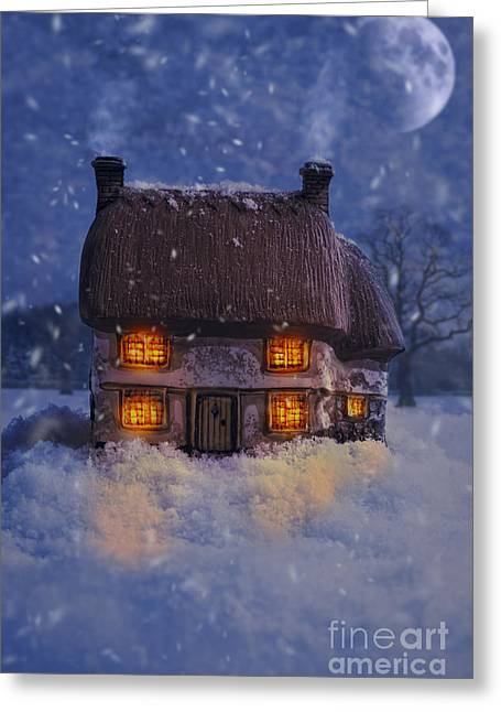 Snowy Evening Greeting Cards - Country Cottage Greeting Card by Amanda And Christopher Elwell