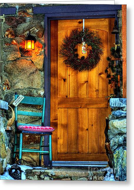 Prescott Greeting Cards - Country Cottage Door At Christmas Greeting Card by K D Graves