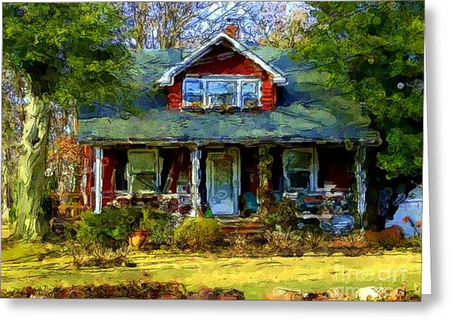 Charming Cottage Digital Art Greeting Cards - Country Cottage Greeting Card by Richard W Burdett