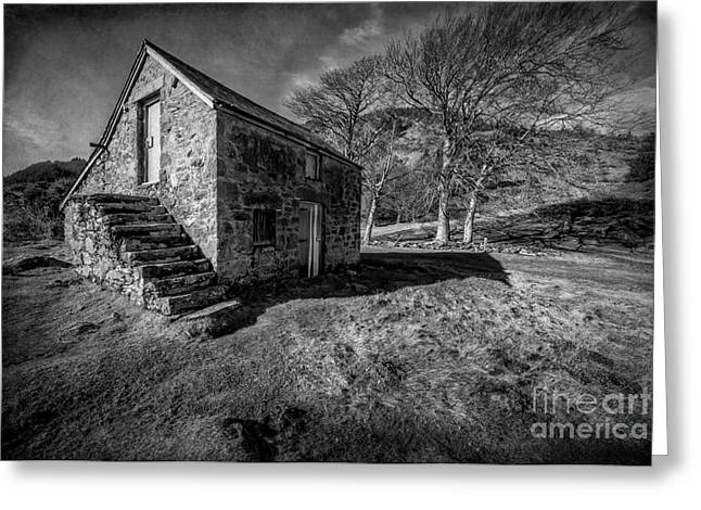 Black And White Hdr Greeting Cards - Country Cottage v2 Greeting Card by Adrian Evans