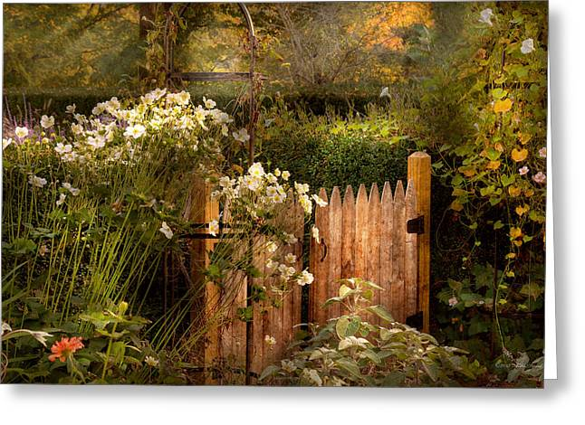 Country - Country Autumn Garden  Greeting Card by Mike Savad