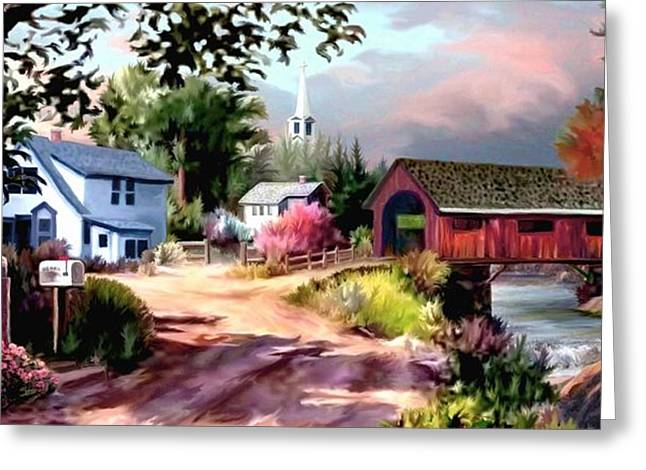 Road Travel Paintings Greeting Cards - Country Covered Bridge II Greeting Card by Ronald Chambers