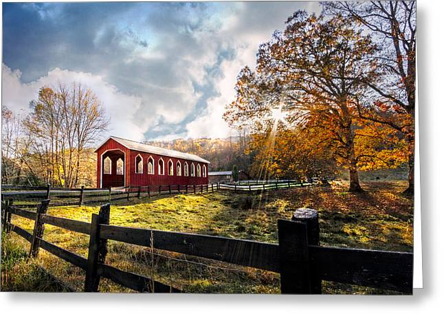 Winter Scenes Rural Scenes Greeting Cards - Country Covered Bridge Greeting Card by Debra and Dave Vanderlaan