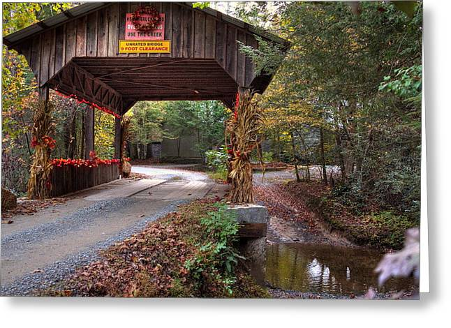 Covered Pyrography Greeting Cards - Country Covered Bridge Greeting Card by Edward Cooper