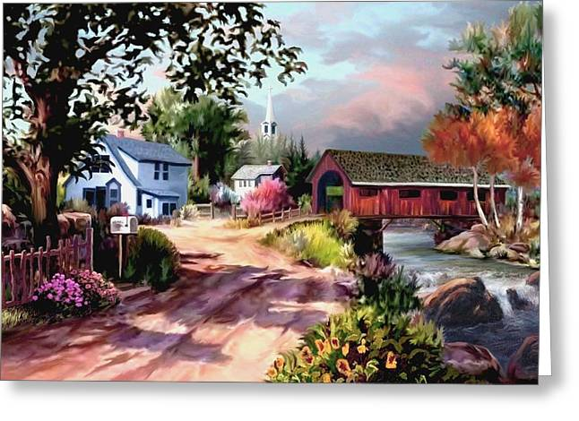 Road Travel Paintings Greeting Cards - Country Covered Bridge Greeting Card by Ronald Chambers