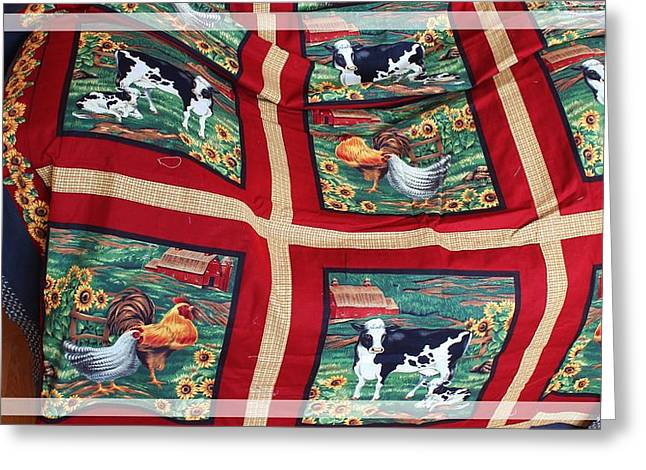 Spring Scenes Tapestries - Textiles Greeting Cards - Country Cows and Roosters Quilt Greeting Card by Barbara Griffin