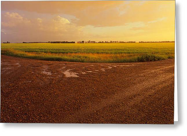 Crossroads Greeting Cards - Country Crossroads Passing Greeting Card by Panoramic Images
