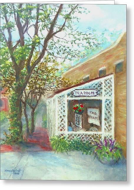 Al Fresco Pastels Greeting Cards - Country Cupboard Tearoom in Kensington MD Greeting Card by Nancy Heindl