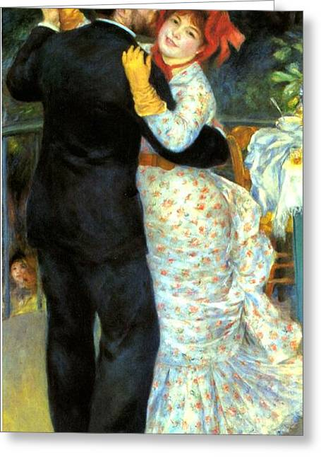 Bougival Greeting Cards - Country Dance Greeting Card by Pierre Auguste Renoir