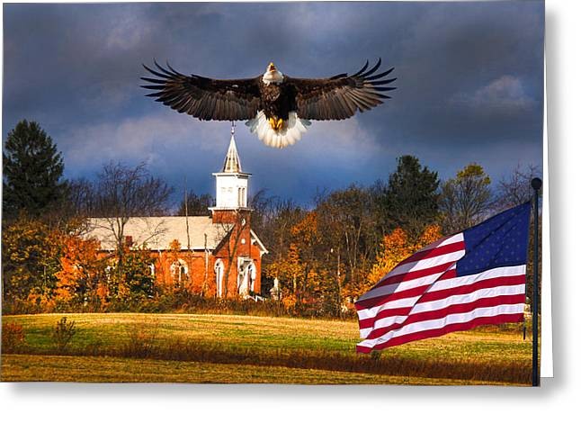 Randall Branham Greeting Cards - country Eagle Church Flag Patriotic Greeting Card by Randall Branham