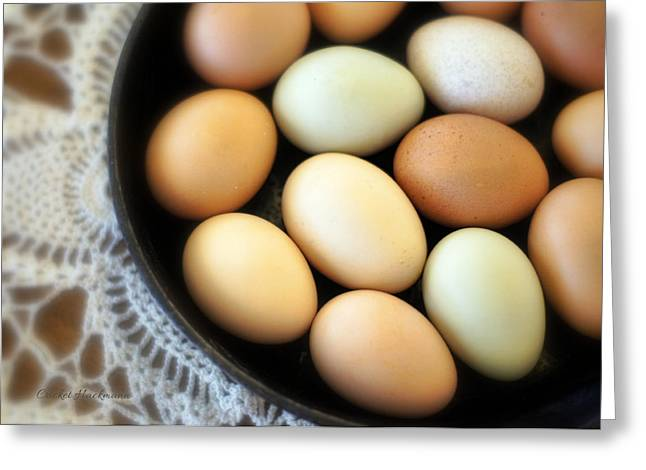 Egg Greeting Cards - Country Egg Skillet Greeting Card by Cricket Hackmann